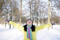 зима девушки счастливая Стоковая Фотография RF