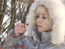 зима девушки ягод Стоковая Фотография