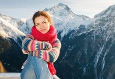 зима девушки alps привлекательная Стоковое Изображение RF