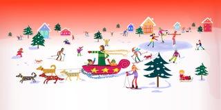 зима детей счастливая напольная играя Стоковое Фото
