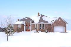 зима дома кирпича Стоковые Изображения