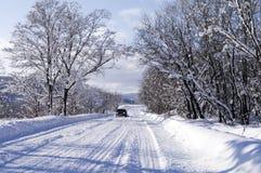 зима дороги автомобиля Стоковые Фото