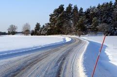 зима дороги солнечная Стоковые Изображения RF