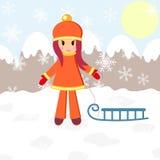 Зима, девушка и розвальни Стоковые Изображения