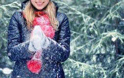 зима девушки пущи счастливая Стоковая Фотография