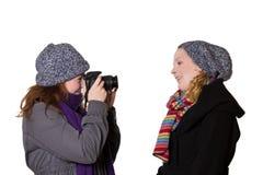 Зима женщин одевает стрельбу камеры Стоковое фото RF