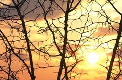 зима захода солнца гор s вечера ural красивейший заход солнца Стоковая Фотография