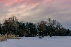 зима захода солнца ландшафта изображения hdr Стоковое Изображение