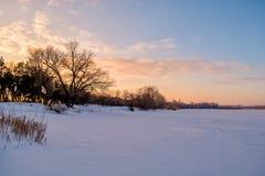 зима захода солнца ландшафта изображения hdr Стоковое Изображение RF