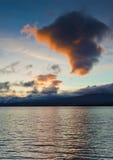 зима захода солнца озера Стоковое фото RF