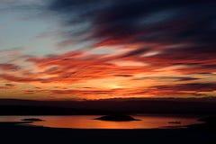 зима захода солнца фьорда стоковые фотографии rf