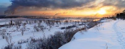 зима захода солнца Стоковые Фото