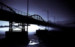 зима захода солнца моста Стоковые Фото