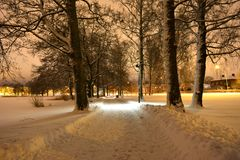 зима захода солнца гор s вечера ural Стоковая Фотография RF
