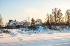 зима захода солнца гор s вечера ural Стоковое Изображение
