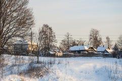 зима захода солнца гор s вечера ural Стоковое Изображение RF