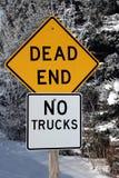 зима знака мертвого конца Стоковые Изображения