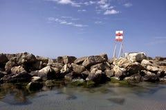 зима знака предосторежения пляжа Стоковые Изображения