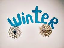 Зима знака с бумажным отрезанным словом и снежинкой стоковая фотография