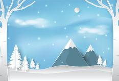 Зима и снег в лесе с голубым небом благоустраивают backgro природы иллюстрация штока