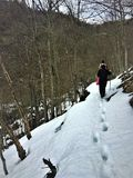 Зима и снег, шаг за шагом стоковые изображения