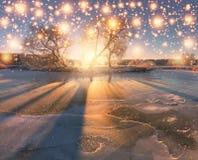зима иллюстрации конструкции рождества предпосылки Утро зимы Snowy Стоковые Изображения