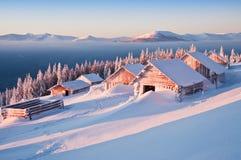 Зима, кабины Стоковые Фото