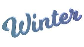 Зима каллиграфическое 3D представила иллюстрацию текста покрашенный с градиентом радуги RGB Стоковые Изображения RF