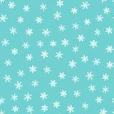 зима картины безшовная Нарисовано вручную снежинки предпосылки голубые белые иллюстрация вектора