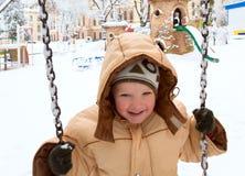 зима качания парка ребенка Стоковые Фото