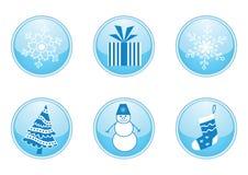 зима комплекта кнопок круглая иллюстрация штока