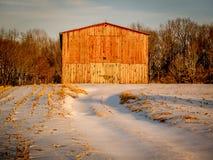 зима красного цвета амбара Стоковое Изображение RF