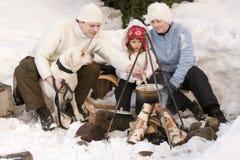 зима лагерного костера Стоковые Изображения