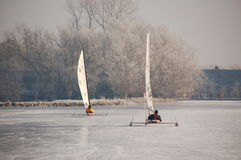 зима ландшафта Голландии каналов голландская, котор замерли Стоковое фото RF