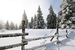 зима ландшафта загородки Стоковое Изображение RF