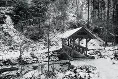 зима ландшафта сельская мост над рекой Стоковые Изображения