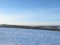 зима луны ландшафта hoarfrost пущи вечера стоковые изображения rf