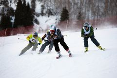 зима лыжи конкуренции bordercross Стоковые Фото