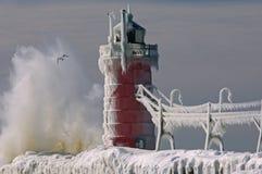 зима маяка гавани южная стоковые фото