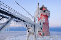 зима маяка гавани южная Стоковые Изображения RF