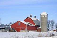 зима молочной фермы Стоковое Изображение