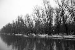 Зима над перепадом Дуная Стоковая Фотография