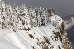 Зима на пике Suhardul Mic в горе Румынии с некоторой чернотой стоковая фотография