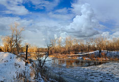 Зима на реке Стоковая Фотография RF