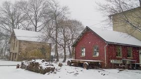 Зима на ферме Стоковая Фотография