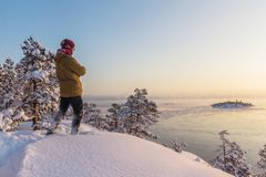 Зима на Lake Ladoga стоковые изображения rf