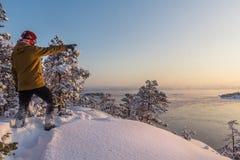 Зима на Lake Ladoga стоковая фотография