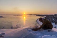 Зима на Lake Ladoga стоковое изображение
