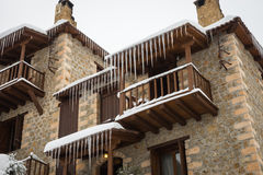 Зима на Trikala Korinthias, Пелопоннесе, Греции Стоковое фото RF