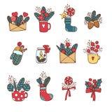 Зима, Новый Год, рождество покрасила значки установленный Много различных декоративных элементов на зимние отдыхи для дизайна уль иллюстрация штока